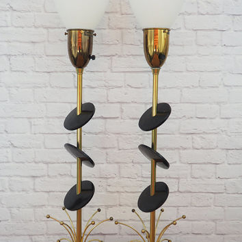 PAIR 50s Atomic Lamps Sculptural Brass with Suspended Black Discs by Rembrandt Masterpiece