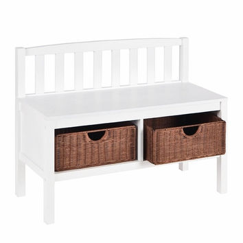 Bench w/ Rattan Baskets - White
