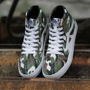 CREYONS Trendsetter Vans Camouflage Print Canvas Ankle Boots Flats Sneakers Sport Shoes