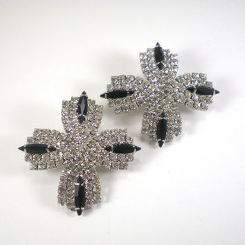 Vintage Black Clear Rhinestone Bridal Clip On Earrings