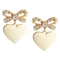 Gold Enamel Heart Bow Earrings - from Talullah Tu UK