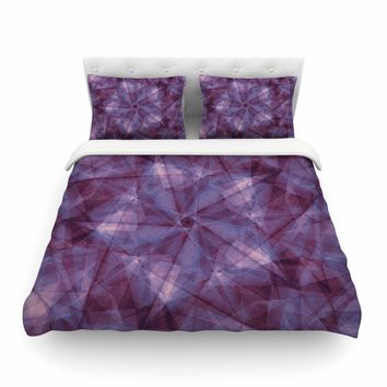 "Justyna Jaszke ""Mandala Blue Geometry"" Blue Lavender Abstract Pattern Digital Illustration Featherweight Duvet Cover"