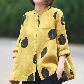 Arts Dot Printing Single Breasted Wild Cotton Linen Loose Large Size Long-Sleeve Shirt