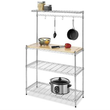 Modern Bakers Rack in Chrome with Removable Wood Cutting Board