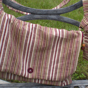"13"" Macbook Air Messenger bag in cranberry and gold vertical stripes, with decorative fob, Bakelite button, wide adjustable strap."