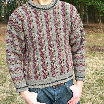 Made in Ecuador - 100% Thick Wool Sweater by Imagine - Hippie, Artisan Style - Crewneck Collar - Gray, Maroon - Bohemian Look