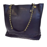 Authentic CHANEL CC Logos Quilted Chain Shoulder Tote Bag Leather Black 79V2497