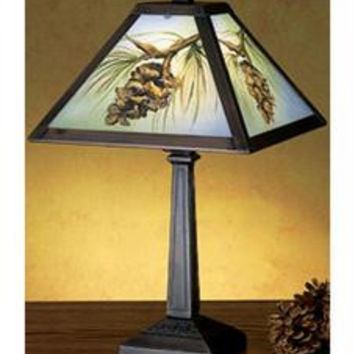 16 Inch H Pinecone Reverse Painted Accent Lamp Table Lamps