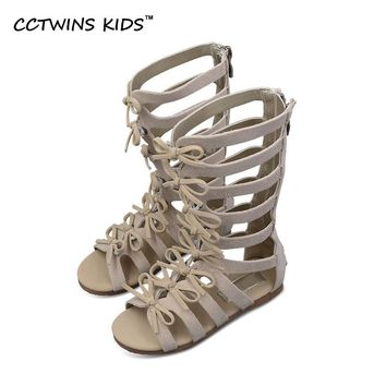 CCTWINS KIDS 2017 Summer Baby Girl Genuine Leather Knee High Gladiator Sandal Kid Fashion Children Beach Lace Up Black Shoe B414