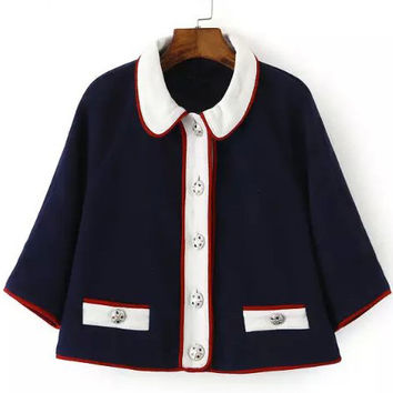 Navy Contrast Peter Pan Collar Half Sleeve Cropped Buttons Coat