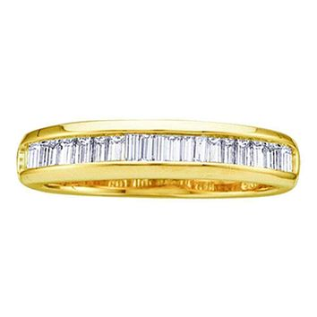 10kt Yellow Gold Women's Baguette Diamond Wedding Anniversary Band 1/2 Cttw - FREE Shipping (US/CAN)