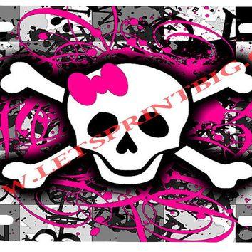 Skull N Bones W/ Bow License Plate Car Tag
