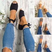 Womens Lace Up Espadrilles Low Wedge Flat Summer Chunky Sandals