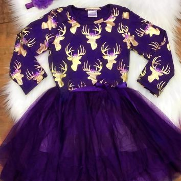 new baby girls clothes Fall/ winter girls cotton party purple gold reindeer dress girls party dress yarn with matching headband