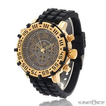Mens Gold Light Up Chronograph Style Watch