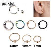 2 Pieces 14G 16G 18G Stainless Captive Hoop Bead Rings BCR Eyebrow Tragus Nose Nipple Ring Bar Lips Body Piercing Jewelry
