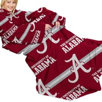 NCAA Alabama Crimson Tide Comfy Throw Blanket with Sleeves, Stripes Design