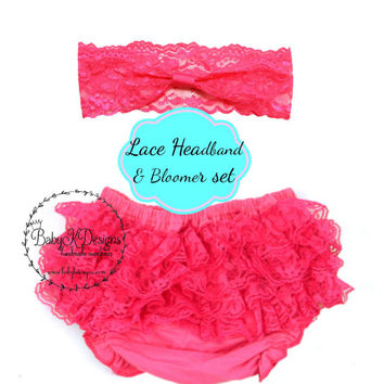 Newborn Baby Girl Lace Headband and Lace Ruffle Bloomer | Cotton Diaper Cover Interchangeable Headband Small Headband Baby Girl headband  2""