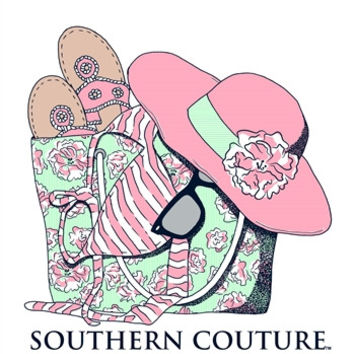 Southern Couture Beach Bag Bikini Flip Flops Sunglasses Hat Comfort Colors White Girlie  Bright T Shirt