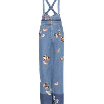 Denim dungarees with appliqué