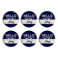 Jay Hello My Name Is Plastic Resin Button Set of 6