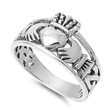 925 Sterling Silver Celtic Claddagh 12MM Ring