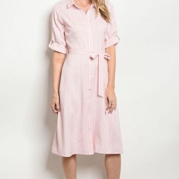 Charity Striped Shirt Dress
