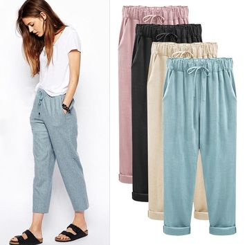 Women loose harem pants Elastic waistline ankle length trousers cotton linen casual plus size 5XL 6XL Mujer spring summer female