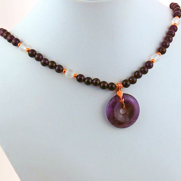 Amethyst, Rock Quartz Crystal and Copper Pendant Necklace