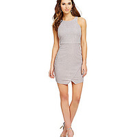 Jodi Kristopher Glitter Knit Envelope Dress - Silver
