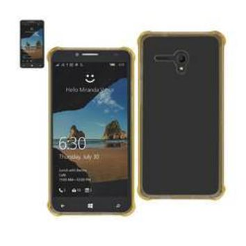 REIKO ALCATEL ONE TOUCH FIERCE XL MIRROR EFFECT CASE WITH AIR CUSHION PROTECTION IN CLEAR GOLD