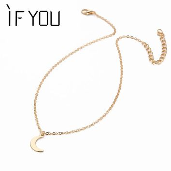 IF YOU Design Moon Necklace Long Chain Pendant Alloy Necklaces Women Girl Lovely Statement Jewelry Fitting Accessorize
