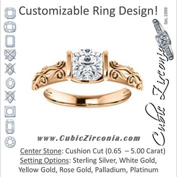 Cubic Zirconia Engagement Ring- The Cora (Customizable Bar-set Cushion Cut featuring Organic Carved Band)