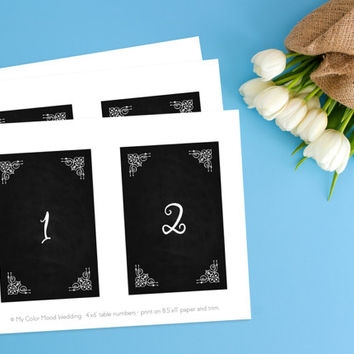 Wedding table numbers, Printable table numbers, Printable numbers, Rustic wedding table numbers, DIY table numbers, Vintage table numbers