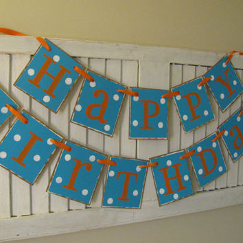 Happy Birthday Banner with Polka Dots Birthday Garland Bunting Sign Can Be Personalized and Colors can be Custom