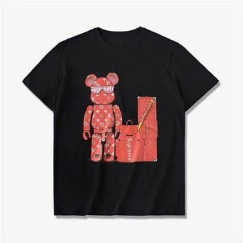 """Louis Vutitton"" Women Casual Fashion Cartoon Bear Letter Pattern Print Round Neck Short Sleeve Sweater Tops"