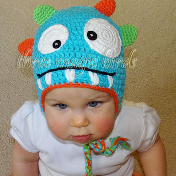 Baby Crochet LIGHT BLUE with Orange and Green Boy Monster Hat Animal Baby Boy Monster Cotton Crochet Hat Adorable Toddler Hat Little Monster