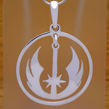 Vintage Solid 925 Sterling Silver Star Wars Jedi Pendant Rebel Alliance Galactic Force Empire Luke Skywalker Darth Vader Impressive Design
