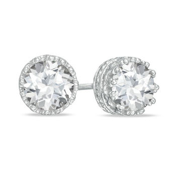6.0mm Lab-Created White Sapphire Crown Earrings in Sterling Silver