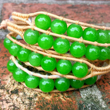 Wrap Bracelet - Big Kelly Green Beads with Tan Cord and Chevron Style String - Wraps 4x