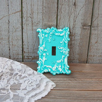 Shabby Chic Switch Cover, Wall Plate, Tiffany Blue, Aqua, White, Ornate, Beach Decor, Upcycled