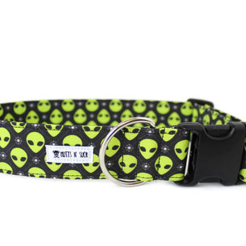 Dog Collar, Boy Dog Collar, Girl Dog Collar, Alien Dog Collar, Space Dog Collar, 2 Inch, Sci-Fi (Upgrade to Metal Buckle or Martingale)