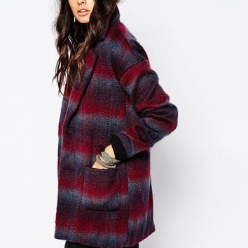 Noisy May New Katelyn Check Wool Coat