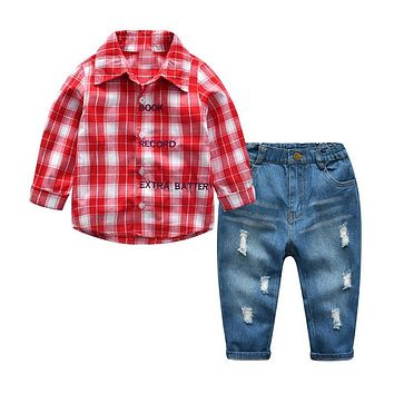 Fashion Kids Boys Clothing Sets Casual Plaid Long Sleeve Shirt+Broken Hole Jeans Gentleman Children Clothing Set