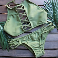 venice high neck crop bikini set in olive green