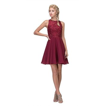 Lace Appliqued A-Line Homecoming Short Dress Burgundy