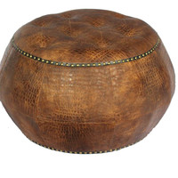 Classy And Supreme Wood Leather Ottoman