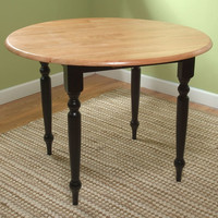 Round Dual Drop Leaf Dining Table in Black & Natural Finish