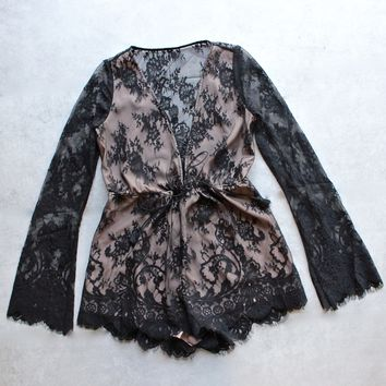 the jetset diaries - dulce deep plunge lace romper - black