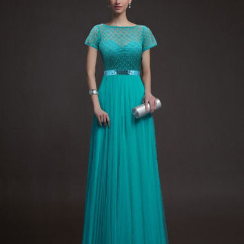 Short Sleeve Lace Mosaic Hollow Out Prom Dress Ball Gown One Piece Dress [4918233988]